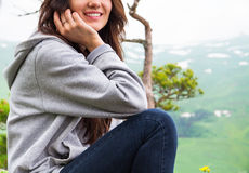 Close Up, smiling beautiful woman in mountains Stock Photography