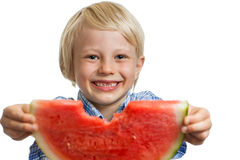 Close-up of smiling boy holding water melon Royalty Free Stock Images