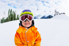 Close-up of smiling boy wearing ski mask in winter Royalty Free Stock Images