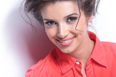 Close-up of smiling casual young woman Royalty Free Stock Images