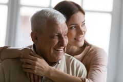 Free Close Up Smiling Dreamy Elderly Man And Young Woman Hugging Royalty Free Stock Photos - 187763718