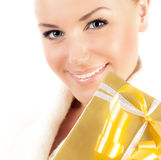Close up on smiling face with gift box Stock Images