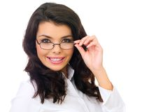 Close up Smiling Female Wearing Eye Glasses Royalty Free Stock Photos