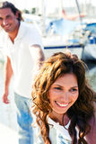 Close-up of smiling female at yacht Royalty Free Stock Photography