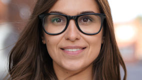 Close Up of Smiling Girl Face in Glasses, Outdoor Stock Photography