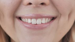 Close Up of Smiling Lips of Woman stock video