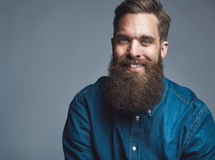 Close up on smiling male in denim shirt and beard. Single sitting young handsome serious man in blue denim shirt and beard over gray background with copy space Royalty Free Stock Image