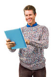 Close-up of smiling man reading book Stock Image