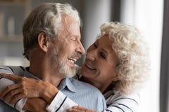 Free Close Up Smiling Older Couple Hugging, Enjoying Tender Moment Stock Image - 178966321