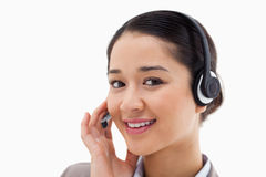 Close up of a smiling operator Royalty Free Stock Images