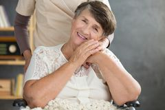 Close-up of smiling pensioner stock images