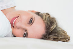Close up of smiling pretty blonde woman Stock Images