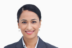 Close up of smiling saleswoman Royalty Free Stock Images