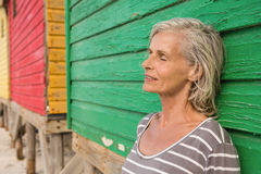 Close up of smiling senior woman with eyes closed Royalty Free Stock Photography