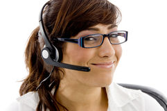 Close up of smiling service provider royalty free stock image
