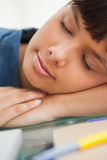 Close-up of a smiling student sleeping Stock Photos