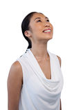 Close up of smiling thoughtful businesswoman looking up Stock Images
