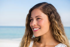 Close up smiling thoughtful woman Stock Photo