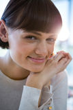 Close-up of smiling woman in cafeteria Royalty Free Stock Image