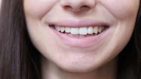 Close Up Of Smiling Woman Lips. Beautiful interior stock video
