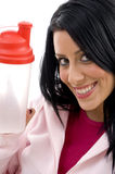 Close up of smiling woman showing water bottle Royalty Free Stock Images