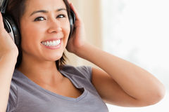 Close up of smiling woman sitting on Royalty Free Stock Photography