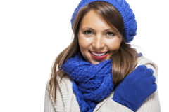 Close up Smiling Woman in Winter Outfit Stock Photos