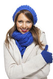 Close up Smiling Woman in Winter Outfit Royalty Free Stock Images