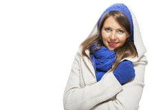 Close up Smiling Woman in Winter Outfit Royalty Free Stock Photos