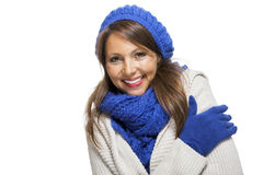 Close up Smiling Woman in Winter Outfit Stock Photography
