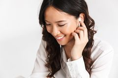 Close up of a smiling young businessowoman stock photo