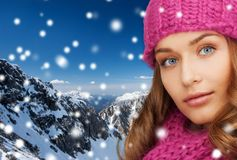 Close up of smiling young woman in winter clothes Stock Photography