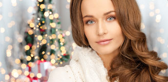 Close up of smiling young woman in winter clothes Stock Photos