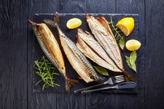 Close-up of smoked mackerel, top view royalty free stock images