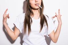Close Up Smoking Beautiful Woman Cigar Closeup Studio Shot Stock Images