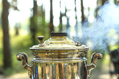 Close up of smoking russian samovar Stock Photos