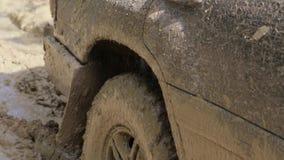Close-up of smoking SUV wheel. stock video footage