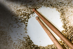 Close up of Snare Drum with Drumsticks Royalty Free Stock Images