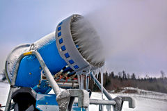 Close up snow cannon making snowflakes Royalty Free Stock Photos