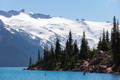 Glaciers and trees, Garibaldi Lake near Whistler, BC, Canada stock images