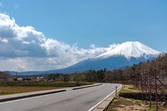 Close up snow covered Mount Fuji ( Mt. Fuji ) the World Heritage. In blue sky background on spring season sunny day. Fuji Five Lake region, Minamitsuru stock image