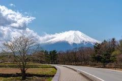 Close up snow covered Mount Fuji ( Mt. Fuji ) the World Heritage. In blue sky background on spring season sunny day. Fuji Five Lake region, Minamitsuru stock photos
