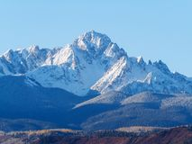 Close up of snow covered Sneffels Range in a bright daylight blu stock photo