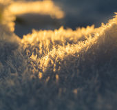 Close up of snow crystals Royalty Free Stock Images
