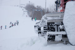 Close up of a snow plow on a ski resort Royalty Free Stock Images