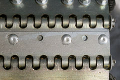 Close-up of a snowcat belt - pattern Royalty Free Stock Photo
