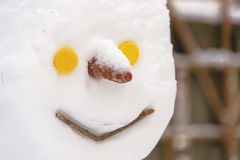 Close-up snowman's head. Snowmans'head with carrot nose and yellow button eyes Stock Images