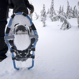 Close up of snowshoe on person Royalty Free Stock Photos
