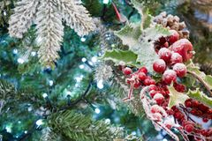 Close Up Of  Snowy Christmas Tree With Decoration. On Snowy Background Stock Photos