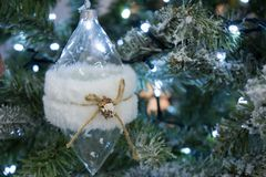 Close Up Of  Snowy Christmas Tree With Decoration. On Snowy Background Royalty Free Stock Images
